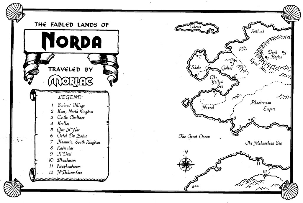 Map of the World of Norda drawn by Gary Alan Ruse